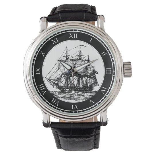 Nautical Vintage Sailing Ship Watch