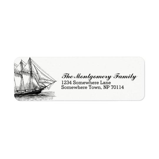 Nautical Vintage Schooner Ship & Family Name Return Address Label