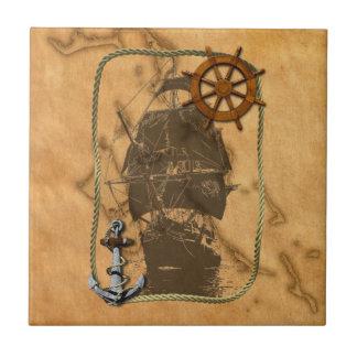 Nautical Vintage Ship And Map Tile
