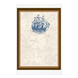 Nautical Vintage Ship Treasure Map Stationery