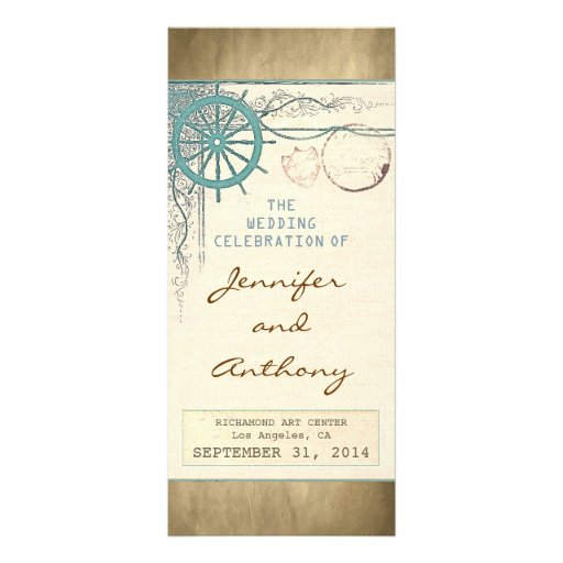 nautical vintage wedding programs rack card design