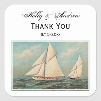 Nautical Vintage Yachts Racing #1 Gift Tag Seal