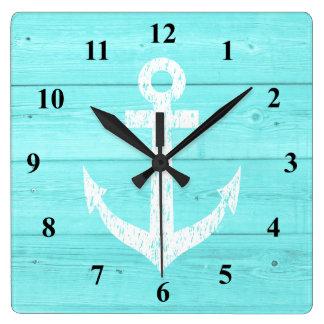Nautical wall clock | ship anchor and wood panels