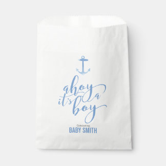 Nautical Watercolor Anchor Baby Shower Boy Blue Favour Bags