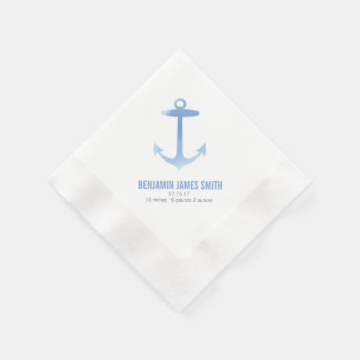 Nautical Watercolor Anchor Baby Shower Sip and See Paper Napkin