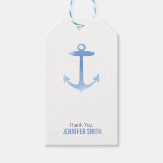Nautical Watercolor Anchor Blue Personalized Gift Tags