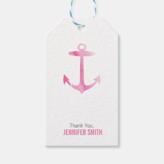 Nautical Watercolor Anchor Pink Personalized Gift Tags