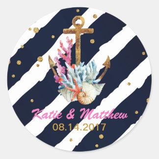 Nautical Watercolor Anchor Seashell Wedding Round Sticker