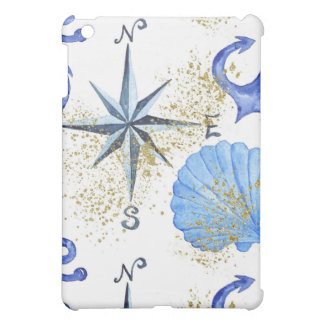 Nautical watercolor design with golden dust iPad mini cover