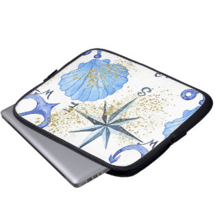 Nautical watercolor design with golden dust laptop sleeve
