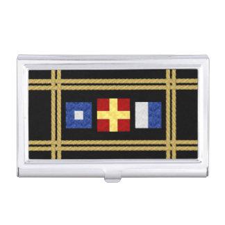 Nautical Watercolor Maritime Signal Flag Monogram Business Card Holder