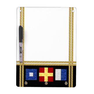 Nautical Watercolor Maritime Signal Flag Monogram Dry Erase Board