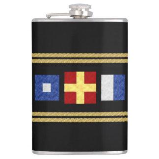 Nautical Watercolor Maritime Signal Flag Monogram Hip Flask