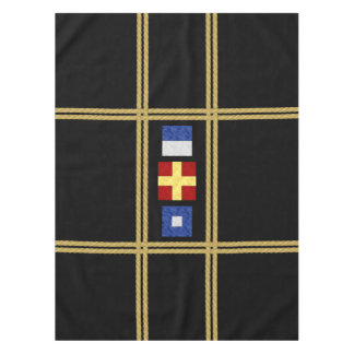 Nautical Watercolor Maritime Signal Flag Monogram Tablecloth