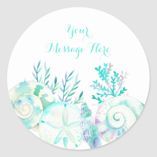 Nautical Watercolor Seashell Bridal Shower Classic Round Sticker