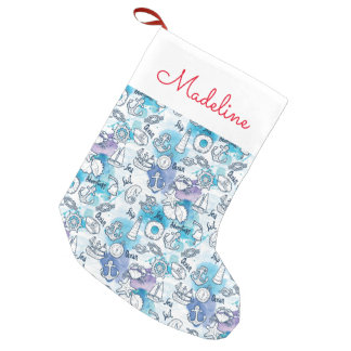 Nautical Watercolors Pattern | Add Your Name Small Christmas Stocking