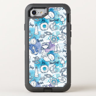 Nautical Watercolors Pattern OtterBox Defender iPhone 8/7 Case