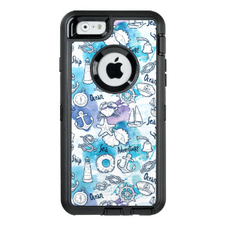 Nautical Watercolors Pattern OtterBox Defender iPhone Case