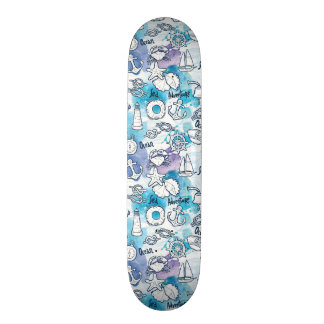 Nautical Watercolors Pattern Skateboard Deck