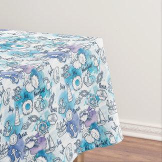 Nautical Watercolors Pattern Tablecloth