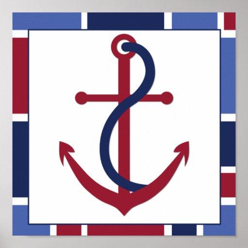 Nautical Wave Nursery Anchor Poster