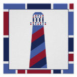 Nautical Wave Nursery Lighthouse Posters