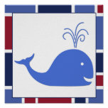 Nautical Wave Nursery Whale Posters