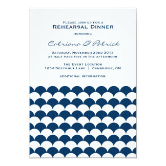 Nautical Waves Pattern Rehearsal Dinner Invitation