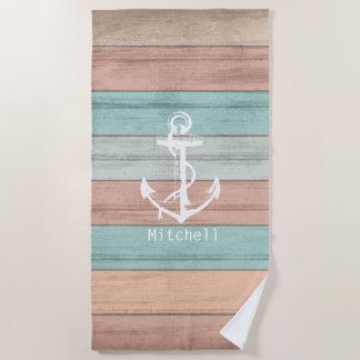 Nautical Weathered Sandy Beach Wood Anchor Beach Towel