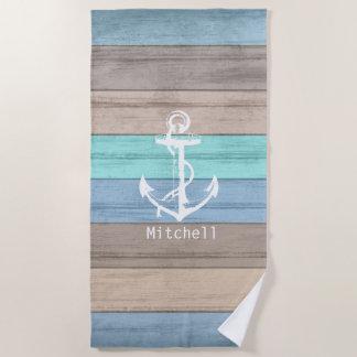 Nautical Weathered Summer Beach Wood Anchor Beach Towel