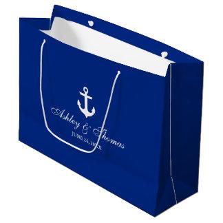 Nautical Wedding Anchor Blue and White Large Gift Bag