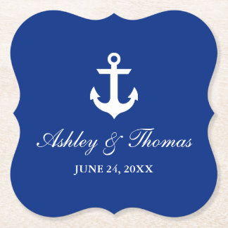 Nautical Wedding Anchor Blue Bracket Paper Coaster