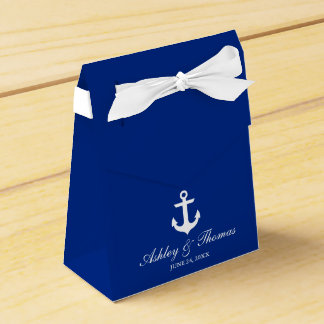 Nautical Wedding Anchor Blue Personalized Bow Favour Box