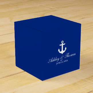 Nautical Wedding Anchor Blue Personalized Favour Box