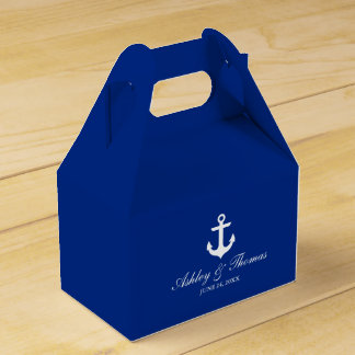 Nautical Wedding Anchor Blue Personalized Gable Favour Box