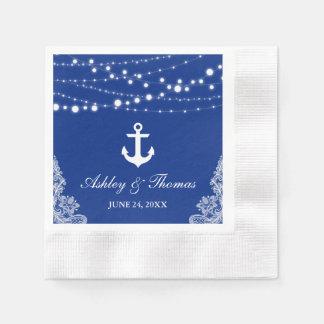 Nautical Wedding Anchor Lights & Lace Blue C Paper Serviettes