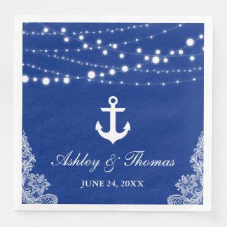 Nautical Wedding Anchor Lights & Lace Blue D Paper Napkin