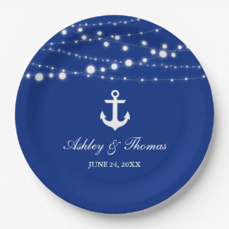 """Nautical Wedding Anchor String Lights Blue 9"""" Paper Plate"""