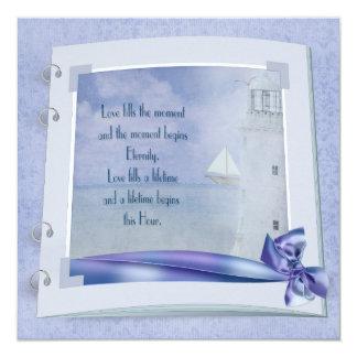"Nautical Wedding Book 5.25"" Square Invitation Card"