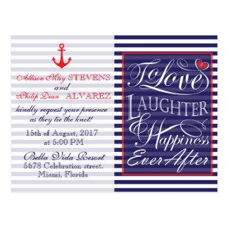 Nautical wedding design postcard