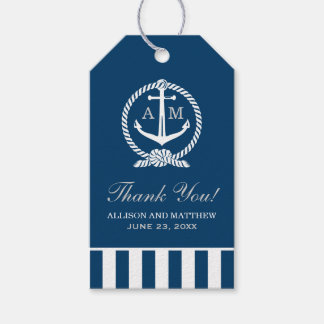 Nautical Wedding Favor Tags | Anchor Monogram