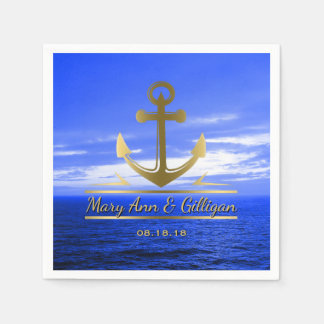 Nautical Wedding Gold Anchor Monogram Ocean Sky Disposable Napkin