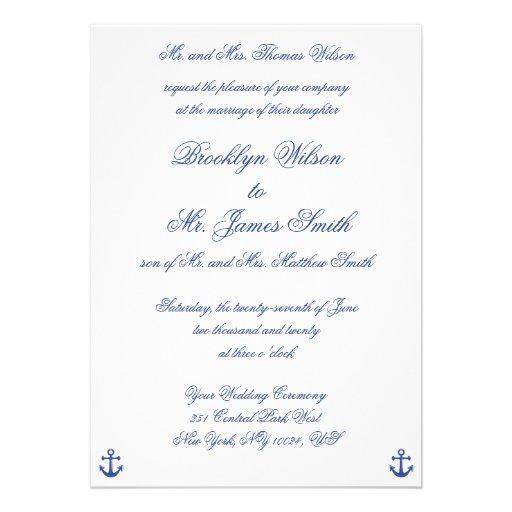 Nautical Wedding Invitations With Groom's Parents