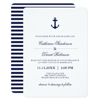 Nautical Wedding Invitations with Navy Stripes