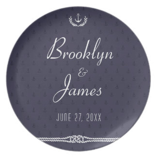 Nautical Wedding Melamine Plates Blue Anchors