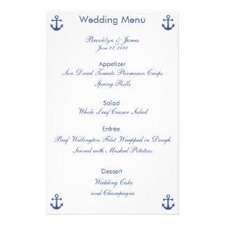 Nautical Wedding Menu Custom Flyer
