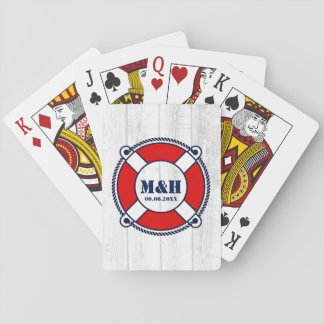 Nautical wedding monogram lifebuoy logo desk of playing cards