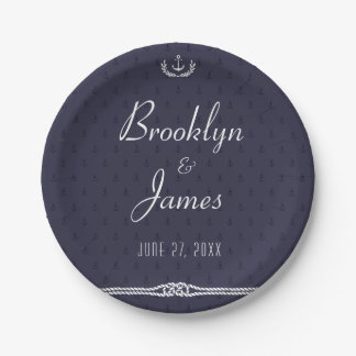 Nautical Wedding Paper Plates Blue Anchors 7 Inch Paper Plate