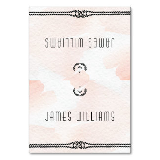 Nautical Wedding Place Cards Watercolor Peach Table Card