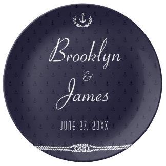 Nautical Wedding Plates Blue Anchors Porcelain Porcelain Plates